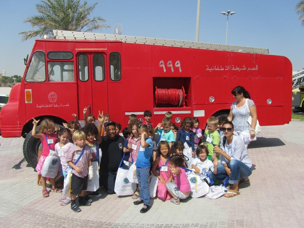 Der Kindergarten besuchte die Feuerwehr in Doha