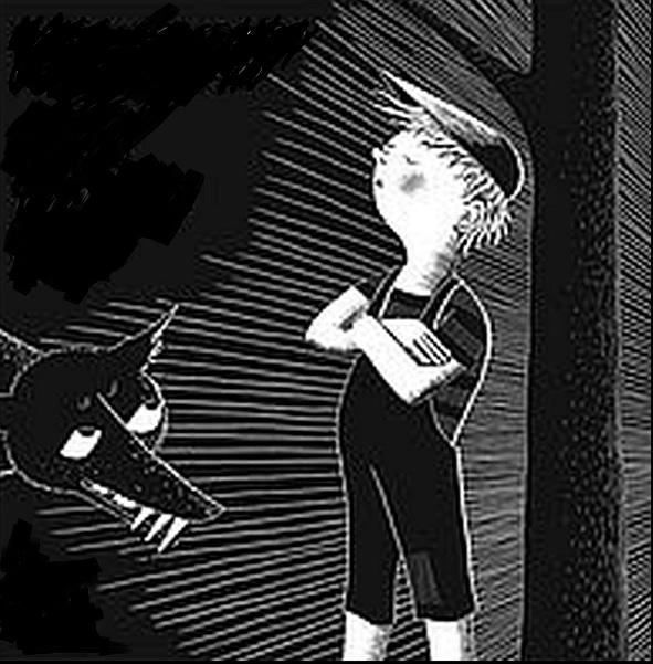 Ein Junge, ein Wasservogel, ein großes graues Raubtier