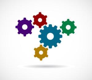 gears cogs colored teamwork design