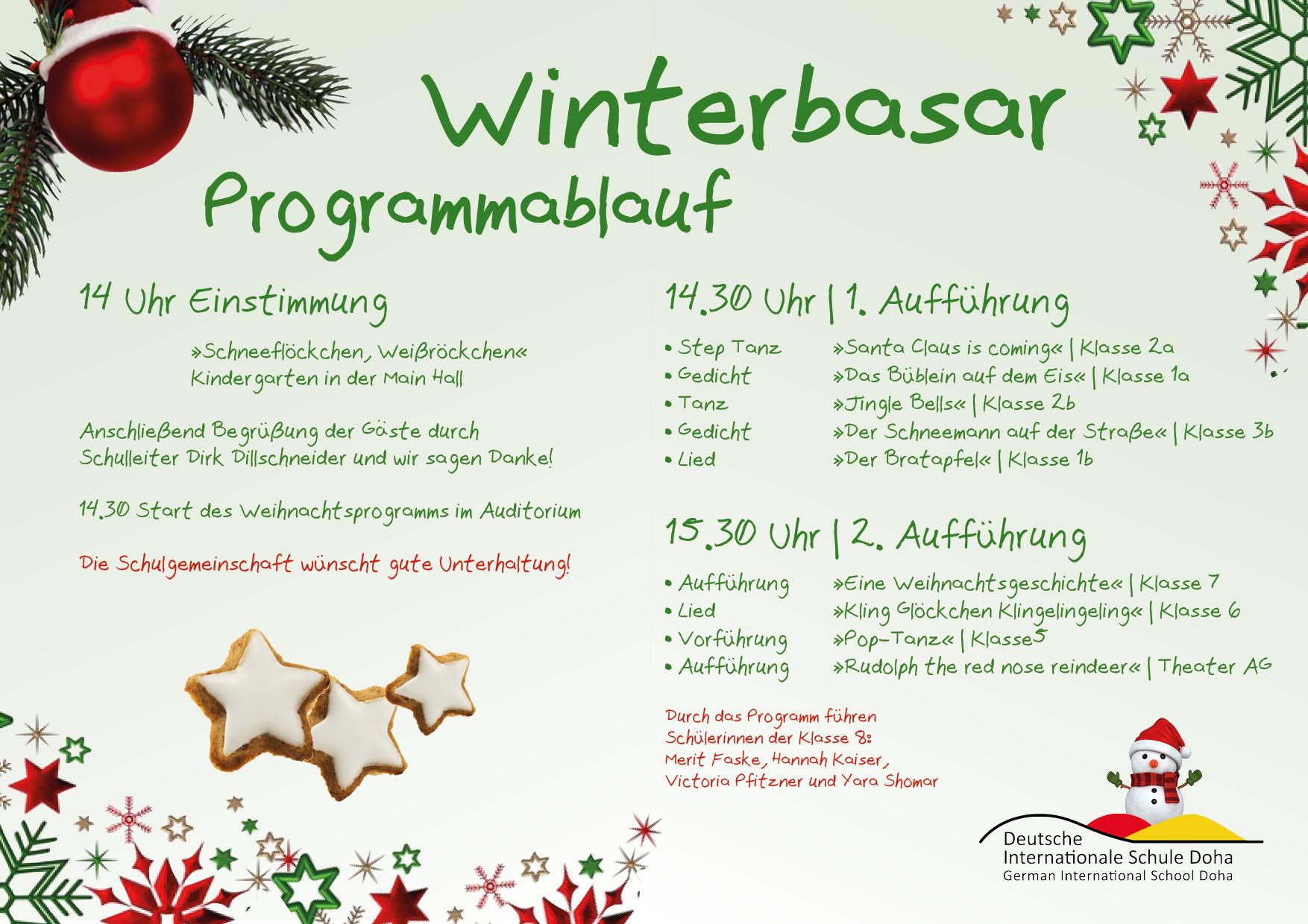 Winterbasar Programmablauf German International School