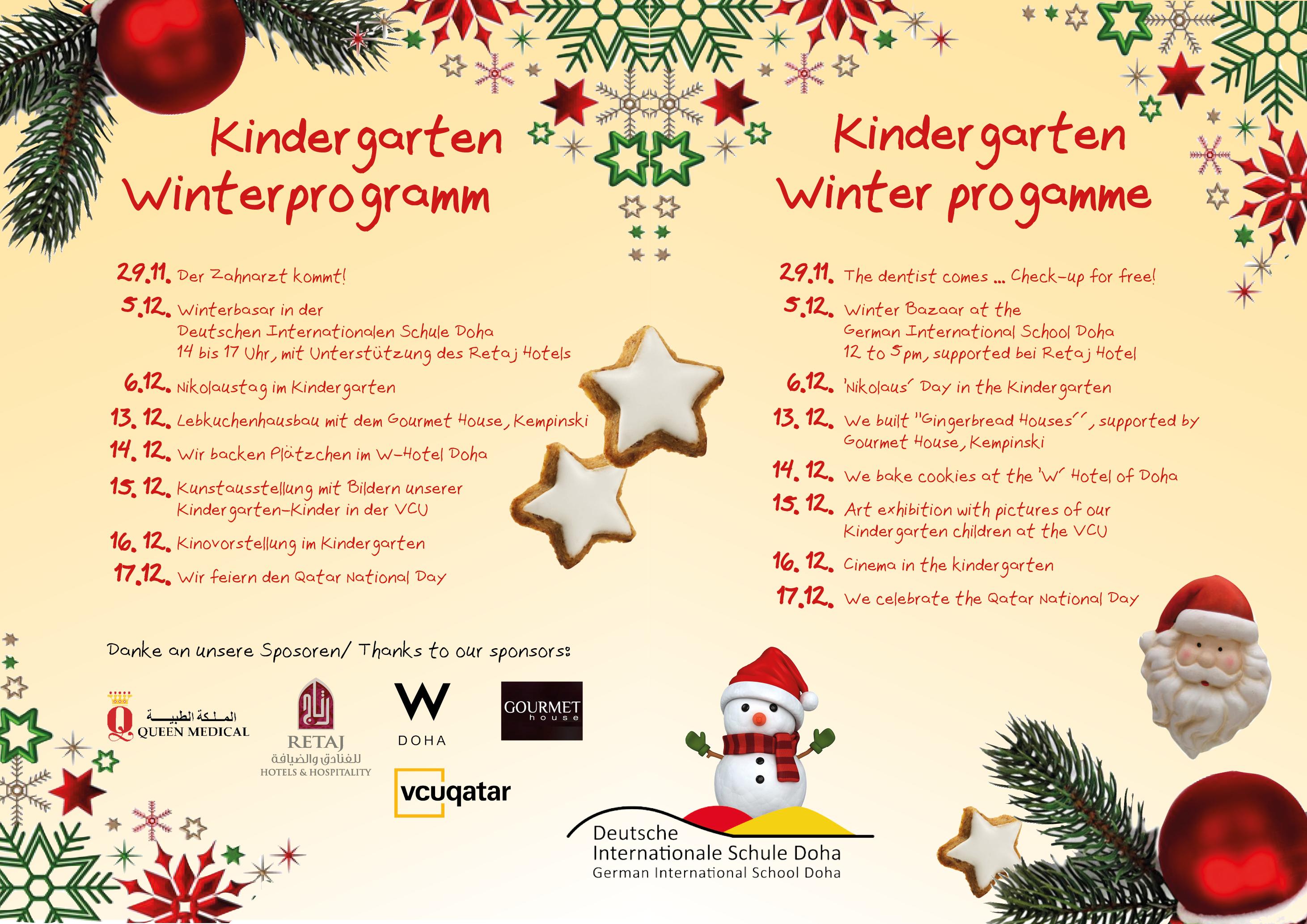 Weihnachtsplätzchen International.The Winter Programme In The Kindergarten Of The German International