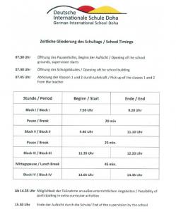Zeitliche Gliederung Schultag_Timings Schoolday